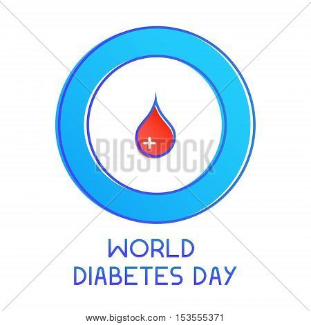 World Diabetes Day awareness poster. Blue circle with a drop of blood on white background. Diabetes symbol. Medical concept. Vector illustration.