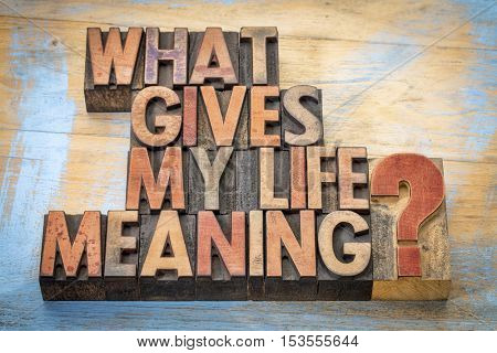 What gives my life meaning? Word abstract in vintage letterpress wood type blocks