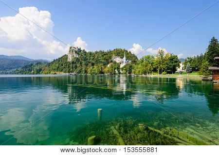 The castle of Bled and the picturesque lake Bled, a popular tourist destination, Slovenia.