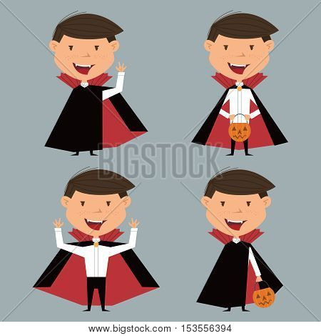 Vector collection with boy in vampire costume for Halloween in various poses