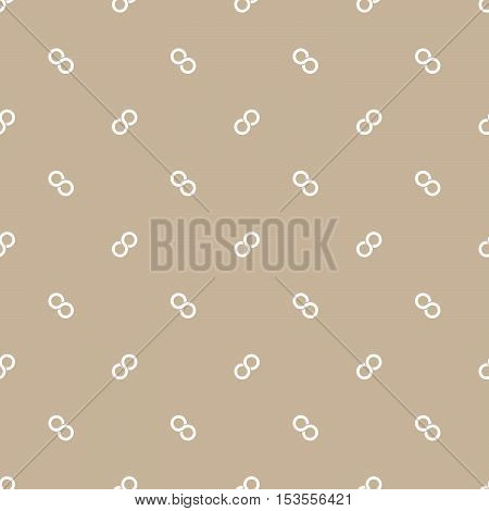 Seamless pattern of white infinity symbols on beige backgound. Simple flat vector illustration.