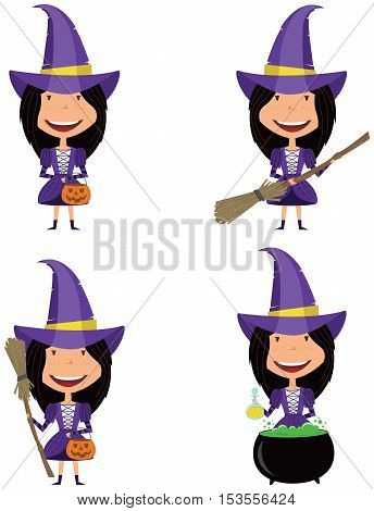 Vector set with girsl in witch costume in various poses with differen objects
