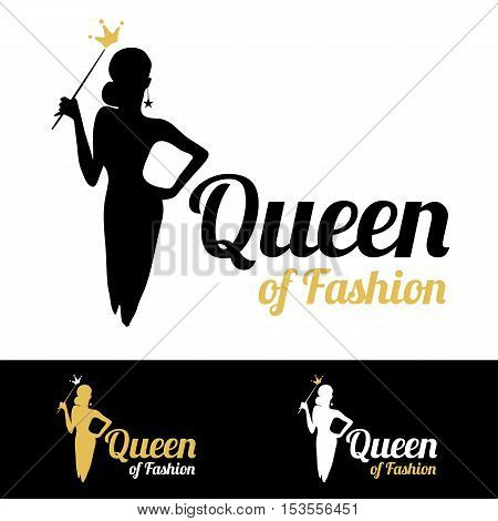 Queen of Fashion logo design vector template. Luxury glamour elegant woman silhouette with golden crown. Logotype concept icon.