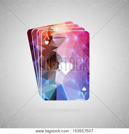 Abstract creative concept vector icon of poker cards. For web and mobile content isolated on background, unusual template design, flat silhouette object and social media image, triangle art origami.