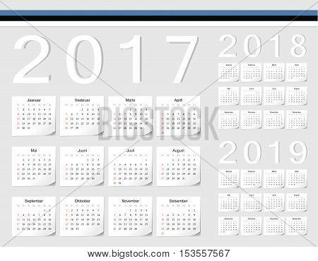 Set Of Estonian 2017, 2018, 2019 Vector Calendars