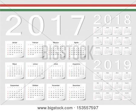 Set Of Hungarian 2017, 2018, 2019 Vector Calendars