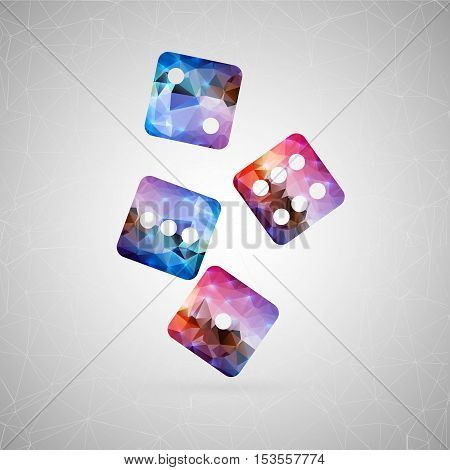 Abstract creative concept vector icon of dice. For web and mobile content isolated on background, unusual template design, flat silhouette object and social media image, triangle art origami.