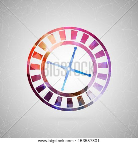 Abstract creative concept vector icon of casino roulette. For web and mobile content isolated on background, unusual template design, flat silhouette object, social media image, triangle art origami.