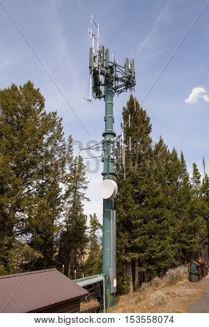A cell phone tower at the top of Mount Signal in the Grand Teton National Park