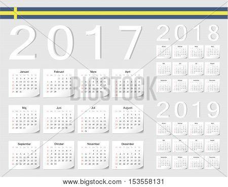 Set Of Swedish 2017, 2018, 2019 Vector Calendars