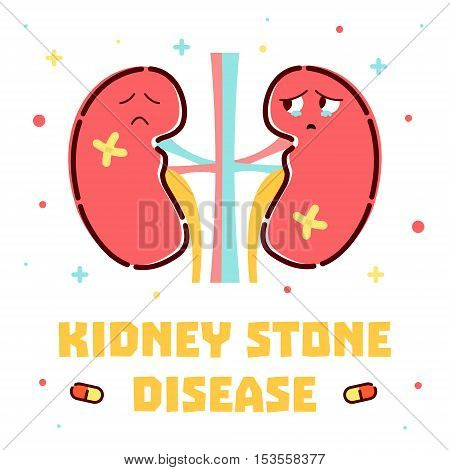 Kidney stone disease awareness poster with sad cartoon kidneys character on white background. Renal stones. Human body organs anatomy icon. Medical concept. Vector illustration.