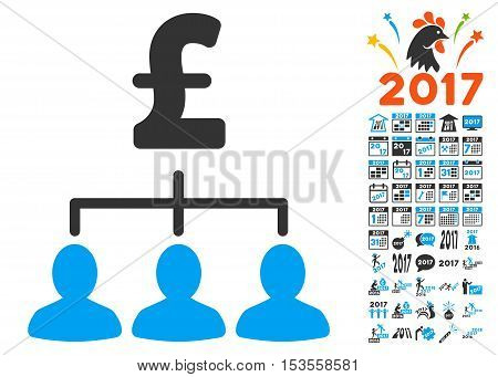 Pound Payment Relations pictograph with bonus 2017 new year pictograph collection. Vector illustration style is flat iconic symbols, modern colors.