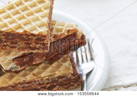 Stack of wafer sheets filled with caramelized sugar and hazelnut cream served on white plate. Copy space