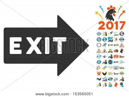 Exit Arrow pictograph with bonus 2017 new year pictures. Vector illustration style is flat iconic symbols, modern colors.