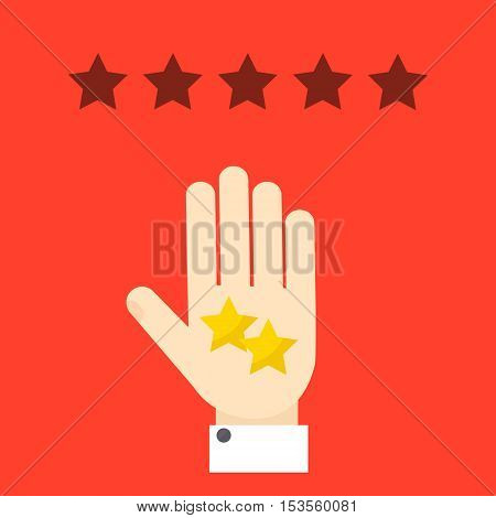 Negative review. Bad rating evaluation vector symbol. Hand showing two stars. Like and  approval concept. Customer review and feedback design template.