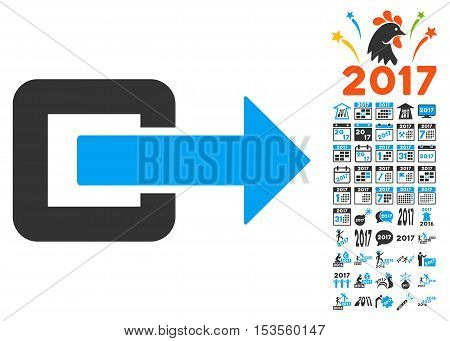 Exit Direction pictograph with bonus 2017 new year pictograph collection. Vector illustration style is flat iconic symbols, modern colors.