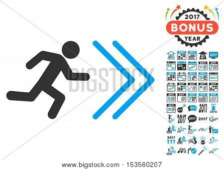 Exit Direction pictograph with bonus 2017 new year graphic icons. Vector illustration style is flat iconic symbols, modern colors.