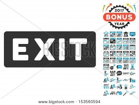 Exit Label pictograph with bonus 2017 new year clip art. Vector illustration style is flat iconic symbols, modern colors.