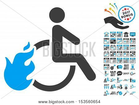 Fired Disabled Person pictograph with bonus 2017 new year pictograph collection. Vector illustration style is flat iconic symbols, modern colors.