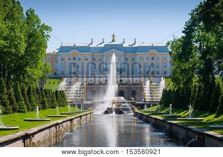 PETERHOF, RUSSIA - MAY 26, 2015: Grand Peterhof Palace, the Grand Cascade and Samson Fountain. Peterhof Palace included in the UNESCO World Heritage List. Petergof, Saint Petersburg, Russia