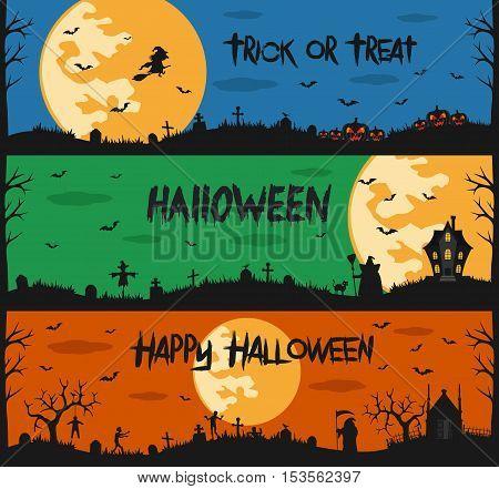 Happy halloween set of flat designed elements. Vector Illustration
