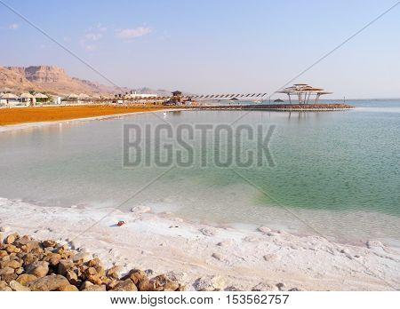 Public beach on the Dead Sea resort.