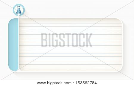 White text box for your text with lined paper and test tube