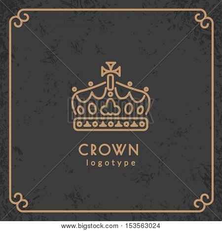 Crown logotype. Vector illustration with thin line icon with grunge texture