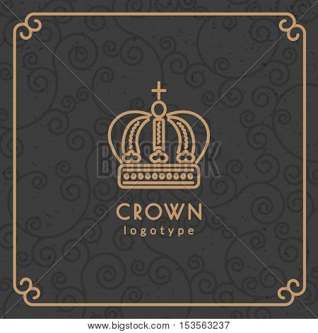 Crown logotype. Vector illustration with thin line icon with pattern background