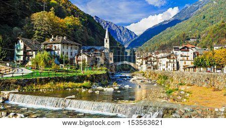 Picturesque Alpine village Lillianes in Valle d'Aosta, North Italy