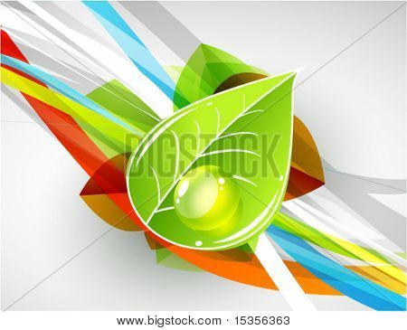 Leaf with water droplet. Natura vector background