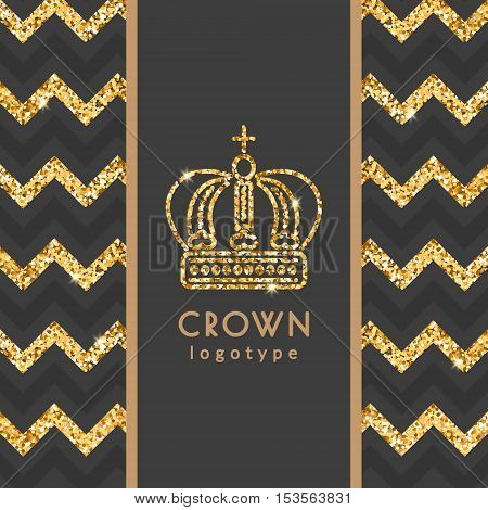 Golden crown logotype. Vector illustration with thin line icon with sparkles and glitter