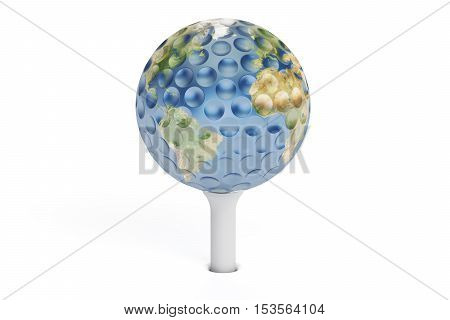Golf concept 3D rendering of globe isolated on white background