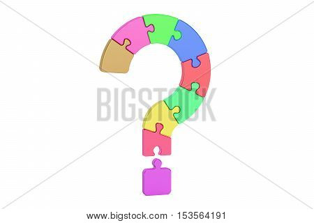 Question mark puzzle 3D rendering isolated on white background