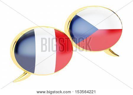 Speech bubbles Czech-French translation concept. 3D rendering