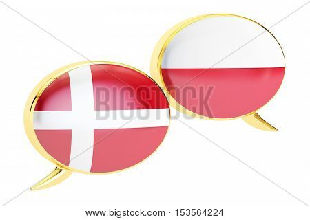 Speech bubbles Danish-Polish translation concept. 3D rendering