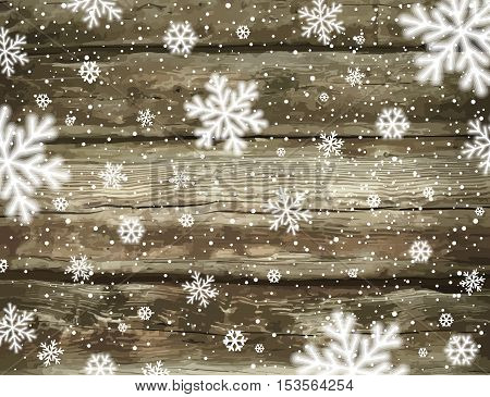 Wooden christmas background with snowflakes vector illustration
