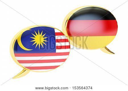 Speech bubbles German-Malaysian conversation concept. 3D rendering