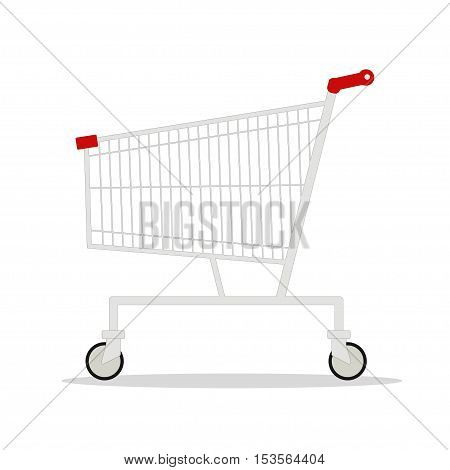 Vector illustration of side view empty supermarket shopping cart isolated on white background