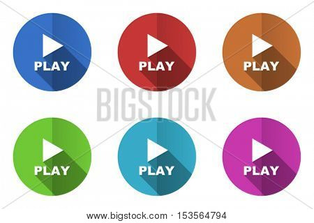 Flat design vector play icons. Web and app buttons.
