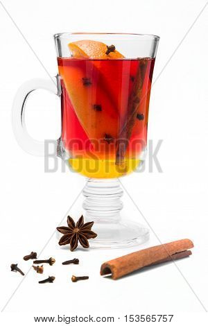 mulled wine in a glass of Irish with lemon cinnamon cumin and cloves
