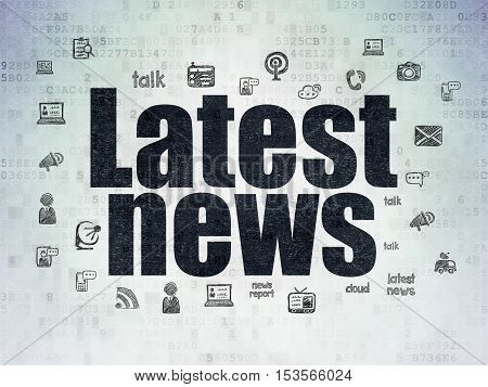 News concept: Painted black text Latest News on Digital Data Paper background with  Hand Drawn News Icons