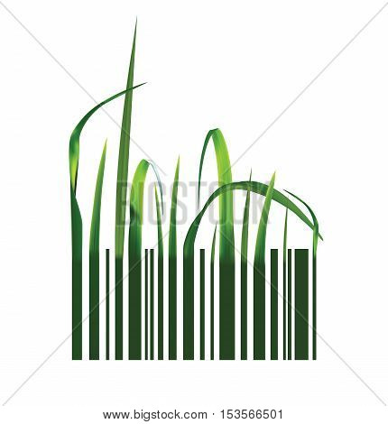 Barcode with green realistic grass. Vector illustration
