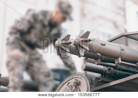 Military Tank And Soldier, Troops Prepare Equipment.