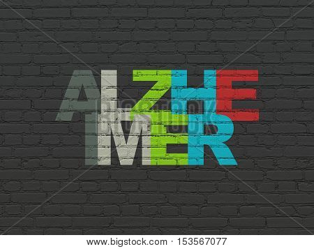Medicine concept: Painted multicolor text Alzheimer on Black Brick wall background