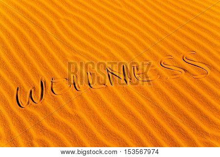 metaphor illustrating on the desert sand the wellness and good health