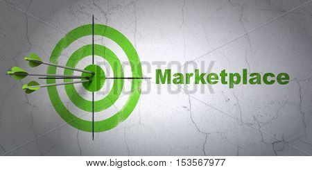 Success advertising concept: arrows hitting the center of target, Green Marketplace on wall background, 3D rendering