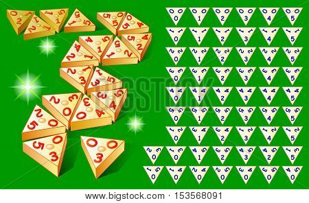 Logic Triominoes game with set of tiles. Vector image.