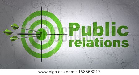 Success advertising concept: arrows hitting the center of target, Green Public Relations on wall background, 3D rendering