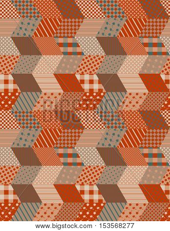 Patchwork in warm autumn colors. Ethnic boho seamless pattern. Geometric tribal ornament. Vector illustration.